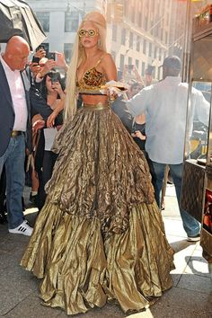 September 12 2011  The singer in a voluminous gold skirt and bejewelled bra top during a New York shoot.