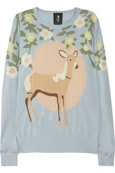 Mother of Pearl Silk and cashmere-blend deer intarsia sweater NET-A-PORTER.COM