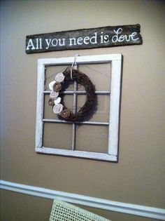 Wreath, window, barn wood