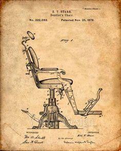 Dentist's Chair Patent Print From 1879 Patent Art Print