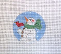 Snowman with Red Bird  Handpainted Needlepoint by MarsyesShoppe