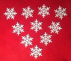 10 x White Card Snowflakes Die cut 4 x 4cm Christmas Embellishments Card Making