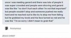 """I didn't mean to grab that."" Oh my god Gerard Way XD <<< we stan a queen Emo Band Memes, Mcr Memes, Emo Bands, Music Bands, Funny Memes, Hilarious, Gerard Way, Funny People Falling, My Chemical Romance"