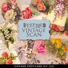 Freebies Vintage flores cartões postais