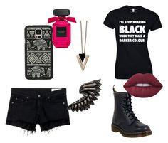 """Black"" by drey-harper on Polyvore featuring rag & bone/JEAN, Dr. Martens, Samsung, Chicnova Fashion, Roberto Cavalli and Lime Crime"