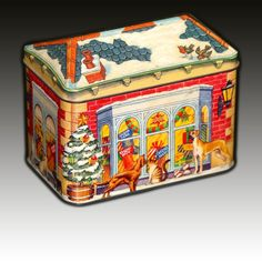 "VINTAGE HOUSE SHAPED TIN ""PET SHOP"" XMAS SCENE ADVERTISING BY ARMITAGE BROS.PLC"