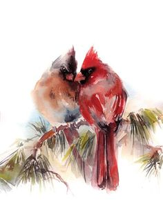 Contemporary watercolor painting of two cardinals perched on pine tree branch. Cardinals V Wall Art by Sophia Rodionov from Great BIG Canvas. Watercolor Bird, Watercolor Artists, Watercolor Paintings, Watercolor Christmas, Watercolor Tattoos, Watercolor Ideas, Tole Painting, Watercolor Landscape, Abstract Landscape
