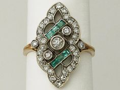 Antique  0.18 ct Emerald and 0.96 ct Diamond, 18 ct Yellow Gold Dress Ring  (Unknown); Art Deco