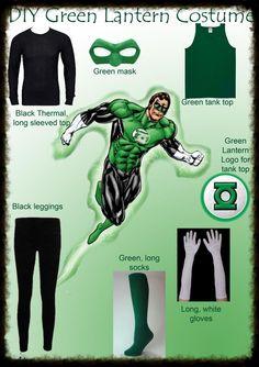 DIY GREEN LANTERN COSTUME. Fancy Dress. Dress up. Make yourself. Superhero Halloween Costumes, Cute Costumes, Family Costumes, Super Hero Costumes, Superhero Party, Halloween Diy, Costume Ideas, Halloween 2017, Green Costumes
