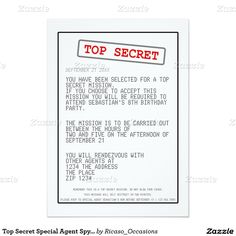 Top Secret Special Agent Spy Surprise Party 5x7 Paper Invitation Card