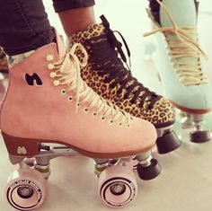CRUSH! We want the leopard print ones!!! <3 pinkmothballs.com #rollerskates #funtimes #fun #fashion #summer