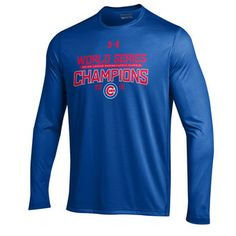 XL- Chicago Cubs Under Armour 2016 World Series Champions Trophy Tech Long Sleeve T-Shirt - Royal
