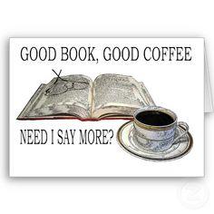 GOOD BOOK, GOOD COFFEE GREETING CARD