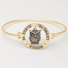 "Be Brave/ Be Smart/ Wisdom/ Owl Gold Bangle Bracelet. Hook Closure. Size : 1"" H, 2 3/8"" D. WT001 http://www.amazon.com/dp/B00JQFVW1Q/ref=cm_sw_r_pi_dp_VpjEub1XQJD21"