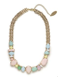 Pretty and posh and still coolly eclectic - thats how we like to describe this gorgeous statement necklace, which features a playful mix of gemstones in an oh-so-feminine palette. We love it. This is part of the Designer Series: Adia Kibur