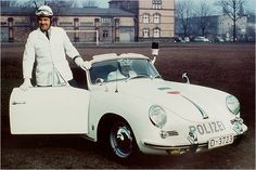 Porsche 356 Police Car and gentlemen lab techs of the road