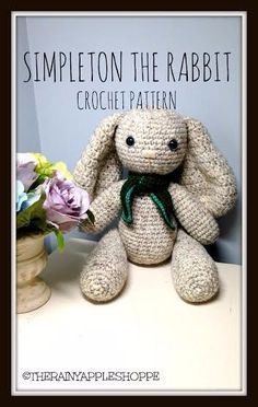 Simpleton the rabbit is a bunny crochet pattern for Easter or just to create a cute kid's toy.
