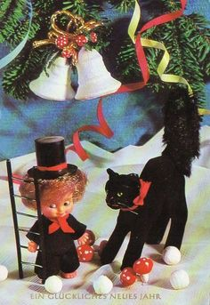 VINTAGE NEW YEAR GREETING postcard of CHIMNEY SWEEP DOLL & BLACK CAT   0.99+1 Chimney Sweep, Autumn Rose, New Year Greetings, Photo Cards, Vintage Photos, Postcards, Old Photos