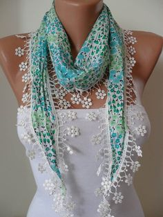 Green Flowered Scarf with White Trim Edge Shaped by SwedishShop, $14.90
