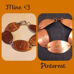 "This is actually my first Pinterest success story! I love pressed pennies (and Disney) so what better way to showcase that other than wear them?! You can find the tutorial just by searching, ""pressed penny bracelet."" I, personally, used pennies from the different countries at Disney's World Showcase in Epcot. And once I got home, I picked the ones I liked the best out of all of them! P.S. make sure you press SHINY pennies!!"