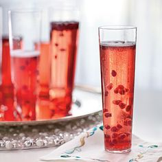 Pomegranate Prosecco | Pomegranate seeds add an extra festive layer to this fizzy drink.