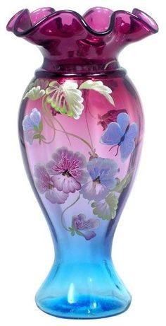 chasingrainbowsforever:Fenton Art Glass Vase
