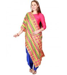 Carry this beautiful stole on a family gathering! Designed in pure cotton, the hand made phulkari dupatta is a wardrobe must-have! The length of the stole is 2.3 metres