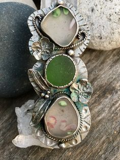 Spring Fever triple sea glass statement ring. Lunaseadesigns on Etsy