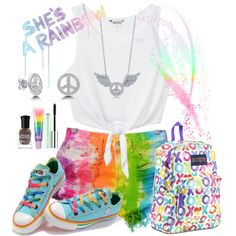 She's a Rainbow by annetkor on Polyvore featuring мода, Monki, JanSport, BERRICLE, Clinique, claire's, Deborah Lippmann and Hudson Jeans