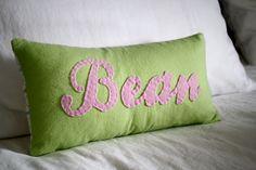 Cute DIY personalized pillow via Jen Woodhouse