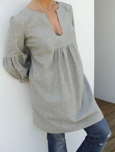 grey smock with bell sleeves
