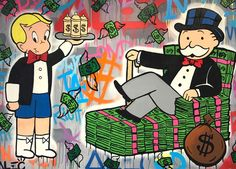 Alec Monopoly - Richie spray can and Monopoly - Eden Fine Art Gallery Easy Dollar Bill Origami, Oil Painting On Canvas, Canvas Art, Grafiti, Dope Art, Stencil Art, Fine Art Gallery, Graffiti Art, Urban Art