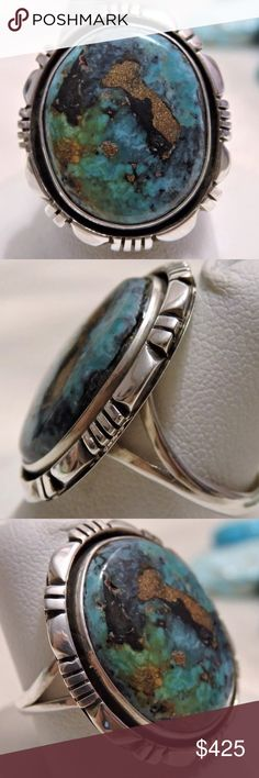 "C. Willie High Grade Santa Rita Turquoise Ring Sterling Silver, Marked CW Sterling, Ring face measures 1 1/16"" x 1"", Very High Grade Santa Rita Turquoise with GOLD ORE Matrix, stone measures 15x20mm, split shank, Ring designed and fashioned by C. Willie, 8.g Native American Jewelry Rings"