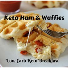 Keto Ham & Cheese Waffies At the top of my favorite food list, many breakfast foods ranks, the only problem is… I'm not a morning person. So too often at our house, big breakfasts elaborate, especially during the week. To enjoy all those delicious breakfast foods dinner gives me the opportunity that I love and a more reasonable hour in which to make them.   #KetoBreakfast #ketowaffies #LowCarbBreakfast