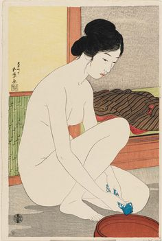 This Japanese woodblock print reproduction features a woman facing to the right as she engages in the traditional Japanese bathing regimen. Japanese Art Prints, Japanese Woodcut, Art Japonais, Fine Art Prints, Canvas Prints, Canvas Art, Japan Art, Free Illustrations, Gravure