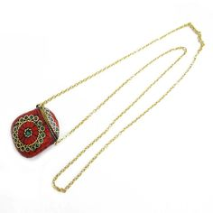 Gold Tone Coral Turquoise Mosaic Tiles Chain Bottle Pendant Fashion Jewelry