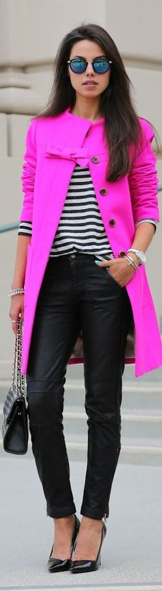 Hot Pink Coat with Stripes and Leather Pant | Caus...