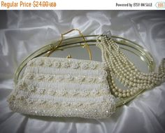 20% CIJ Vintage  White Bead And Sequin by familycollectibles4U