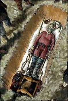 Vikings:  Sketch showing a #Viking corpse before interment, based on Norse grave finds at Cumwhitton, near Carlisle, #England.