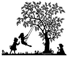 wall decal tree with swings | Tree Swing with little girls Vinyl Wall Decal Old fashioned silhouette ...