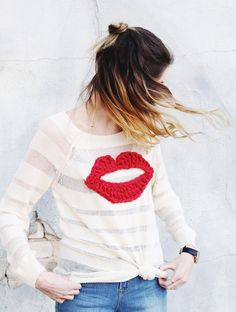 One Sheepish Girl | DIY Crochet Lips Sweater