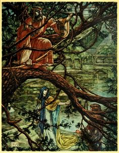 """""""Above in the branches the King was moved to pity, and he smiled gently."""" -- 'The Romance of Tristram and Iseult: Translated from the French of Joseph Bédier by Florence Simmonds' Illustrated by Maurice Lalau. 1909. Tristan and Isolde."""