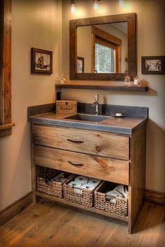 Rustic Bathroom Designs, Rustic Bathroom Vanities, Rustic Bathroom Decor, Rustic Bathrooms, Bathroom Renos, Bathroom Design Small, Bathroom Interior Design, Cabin Bathrooms, Upstairs Bathrooms