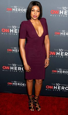 TARAJI P. HENSON in a plunging purple Greta Constantine dress and lace-up sandals at the Anniversary of CNN Heroes in New York City. Taraji P Henson Hairstyles, Famous Celebrities, Celebs, Short Skirts, Short Dresses, Plunge Dress, Lace Up Sandals, Night Looks, Red Carpet Looks