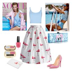 Flamingo Summer by ilifeandstyle on Polyvore featuring Bibee, Chicwish, Christian Louboutin, Edie Parker, Dolce&Gabbana and OPI