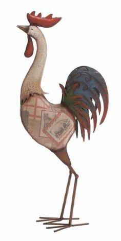 Multihued rocking metal rooster - BENZARA