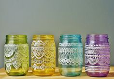 Festive Spring Mason Jars Handpainted Moroccan by LITdecor on Etsy, $88.00