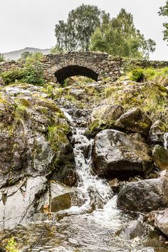 Ashness Bridge and waterfall in the Lake District, England
