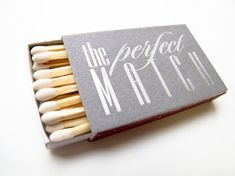 The Perfect Match Custom Wedding Matches - Foil Stamped Personalized Sparkler Matches, Wedding Favor, Wedding Matchbox, Custom Matchbox The Perfect Match Matchboxes Wedding Favors Custom by TeaAndBecky Inexpensive Wedding Favors, Unique Wedding Favors, Unique Weddings, Wedding Ideas, Handmade Wedding, Wedding Reception, Trendy Wedding, Wedding Colors, Wedding Inspiration