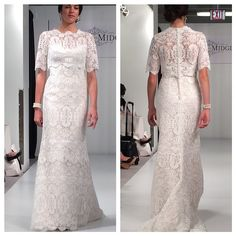 A Jackie O-inspired lace gown with jacket by Sottero and Midgley